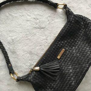 Elliott Lucca Woven Black Tassel Shoulder Bag